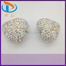 Wholesale 40*40mm Clear AB Color Heart Shamballa Rhinestone Crystal Clay Pendants