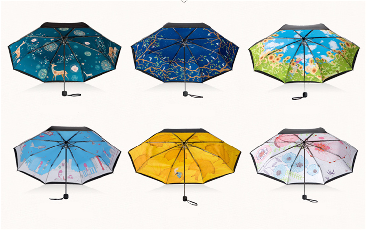 gift and wholesale black uv coated custom print umbrella