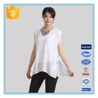White Chiffon Embroidery Design Casual Blouse For Fat Woman Clothing
