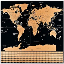 "Free Shipping 32.5"" x 23.4"" Scratch Off World Map, Travel Map Poster Black Scratch Off World Map"