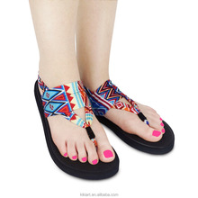 Printing Logo Women Summer EVA Sole Fabric Upper Yoga Sandals Flip Flop