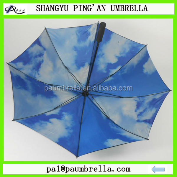 Double canopy layer blue sky golf umbrella