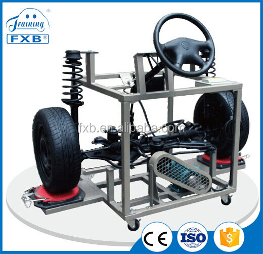 Automotive steering and suspension educational equipment with auto wheels