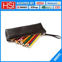 Top Grade Brief Pure Black PU Leather Pencil Pouch/bag/case with Metal Zipper For Children /Businiess/Office