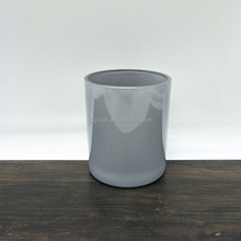 Custom 10 oz gray round glass candle holder