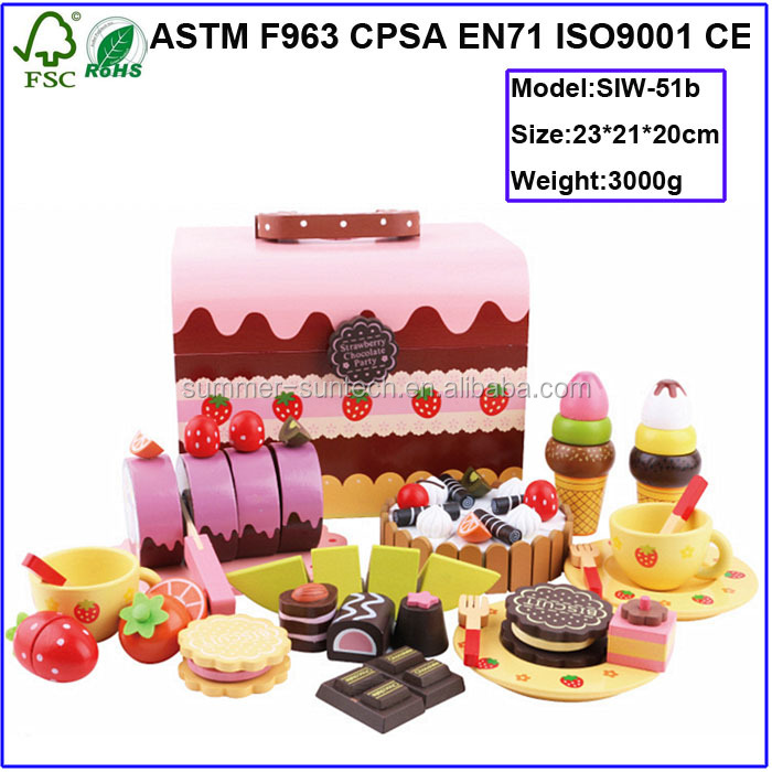 Wooden toy chocolate cake set ,wooden kitchen sets toy for kids