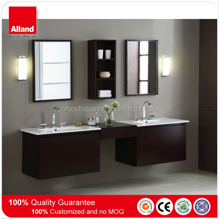 1500 Modern MFC double bowl basin floating bathroom cabinet with wall cabinet