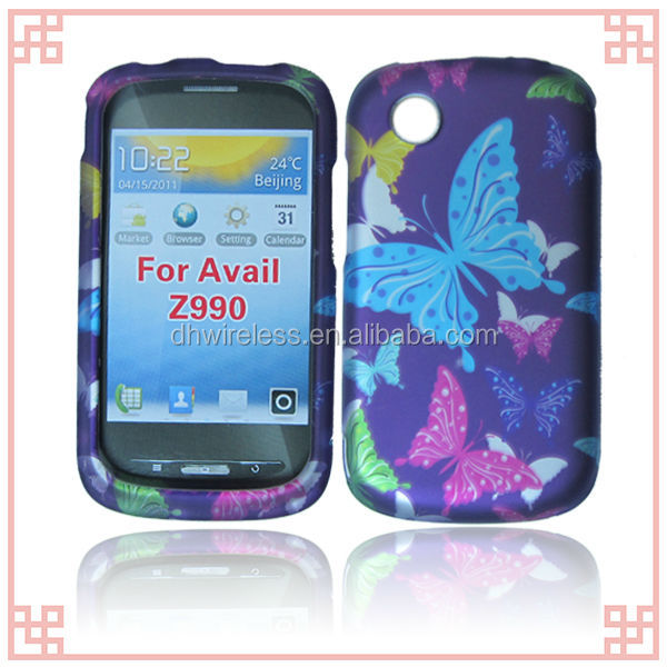 new design purple butterfly 2D design hard plastic cover case for ZTE Avail / Merit Z990