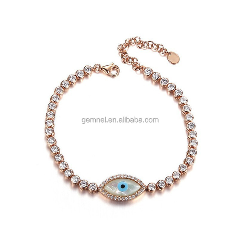 Fashion diamond simple pear evil eye tennis bracelet from China factory