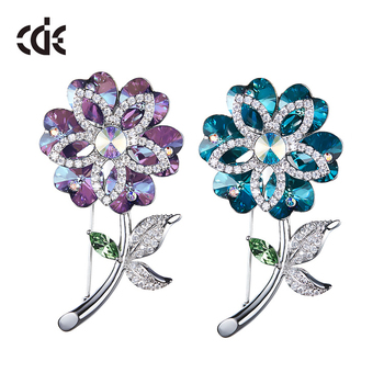 2017 fashion jewelry gift blue purple rose flower brooch pin crystals from Swarovski