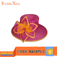 Flower feather ladies sinamay church hats