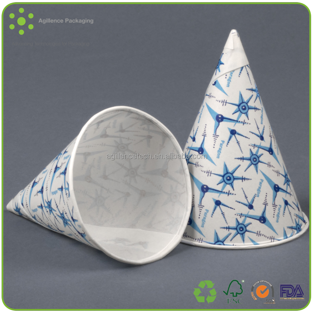 2015 Custom Printed Pure White Rolled Cone Cups Wholesale Disposable Snow Cone Cup