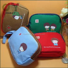Custom wholesale Cute Student Child Kid Pattern Canvas Ziper Pencil Pen Coin Case Bag Holder Phone bag