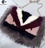 2016 New Design Women's Bag Real Rabbit Fur Monster Long Shoulder Bags with Raccoon Fur Trimming Metal Chain