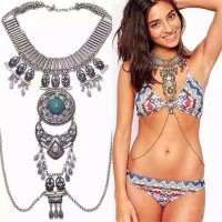 Hawaii America and Mexico beach swim long Chain body jewelry vintage long necklace 31706