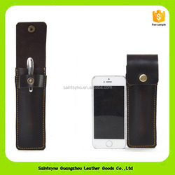 16019 Custom Promotional Double Pen Pouch Genuine Leather Case