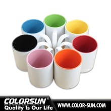 Colorsun sublimation White ceramics mug with color inside for mug heat press machine on wholesale
