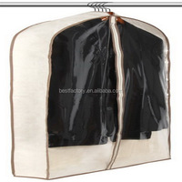 sc08 high quality suit cover, reusable non-woven garment bag, folding suit cover