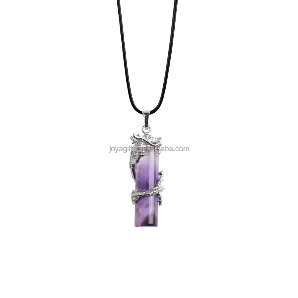 Amethyst Cylinder Dragon Warpped Healing Point Reki Gemstone Pendant <strong>Silver</strong> Finding