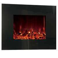 Wall Mounted Electric Fire Fireplace Black Glass Screen Heater Remote Control