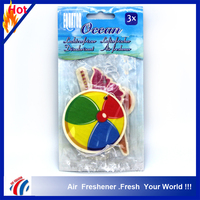 Customized design absorbent bulk wholesale car paper air fresheners/ocen scent hanging car gift 3 perfume pack