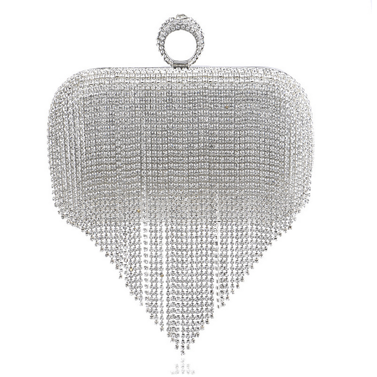 Portugal Stylish Style Newest Tassel Crystal Women Bag Luxury Pearl Evening Bags Wedding Beaded Day Clutches Small Purse Bag