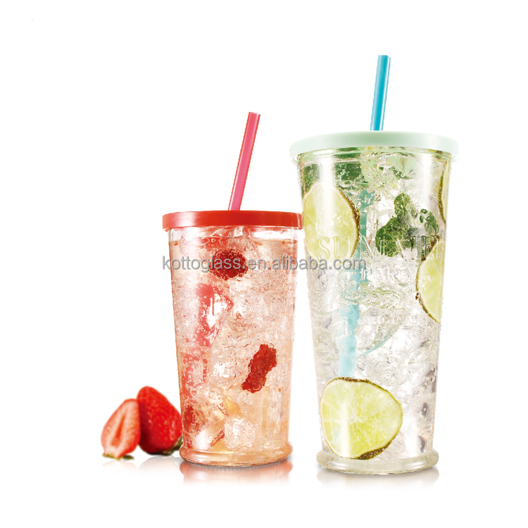 670ml embossed glass tumbler juice ,milk ,beer ,beverage glass cups with color lid and straw