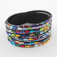 2016 Fashion Jewelry 40CM Black Leather Bracelet With Rainbow Crystal Wholesale