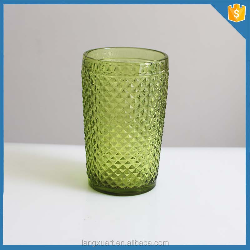 Pressed pineapple colored water glass tall highball glass