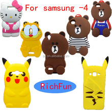 Hot 3D Lovely Cute Cartoon Brown Bear Soft Silicon Back Cover Phone Case For Samsung Galaxy Core 2 Grand Prime Plus Neo Duos