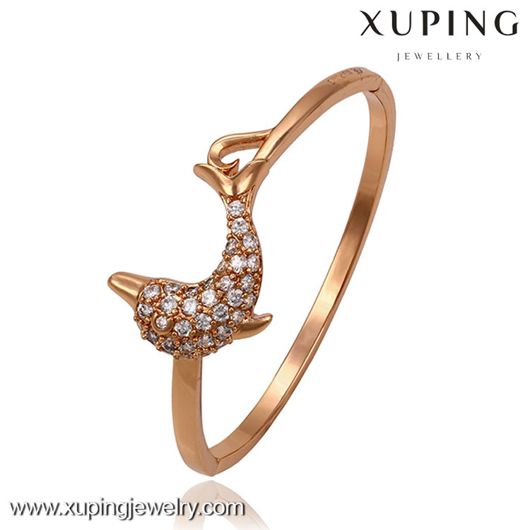 51262 Wholesale expandable gold plated lovely dolphin bracelet bangle