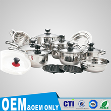 Eco Friendly Capsule Bottom stainless steel cookware set 17 pcs -Set