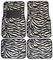 Zebra Print 4 Piece Floor Mat Set