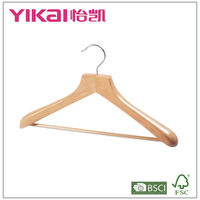 Curved wooden coat hanger with U notches