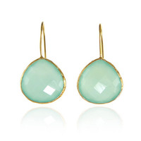 925 Sterling Silver Aqua Chalcedony Gemstone Earrings