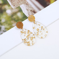 2020 Hot Sale Wholesale Transparent Water Drop Acrylic Earrings Gold Foil Acrylic Acetate Waterdrop Shape Dangle Earrings