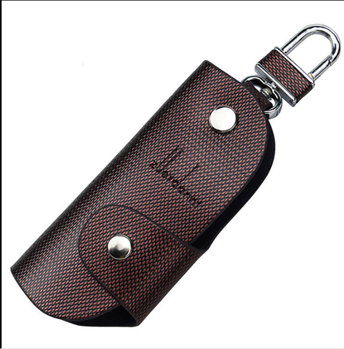 Luxury Car Key Chain Pouch Men Cowhide Key Holder Bag With Key Ring