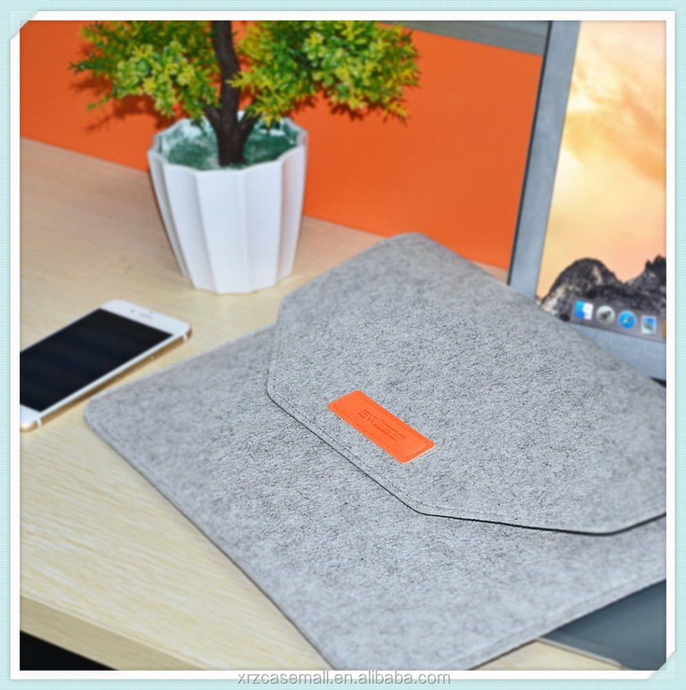"12 Inch Wool Felt Carrying Laptop Notebook Sleeve Bag for 12"" Apple New Macbook with Retina , Gray"