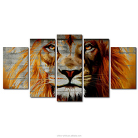5 Pieces Printed Abstract Big Strong Lion Pictures Animal Wild life Canvas Painting Posters Wall Art for Home Decoration