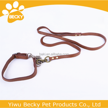 Pet Product Genuine Leather Metal Accessories Dog Snake Collar And Leash