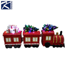 outdoor lighted christmas decoration train tree & gifts for sale