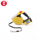 Heavy duty retractable dog leash with led light poop bag