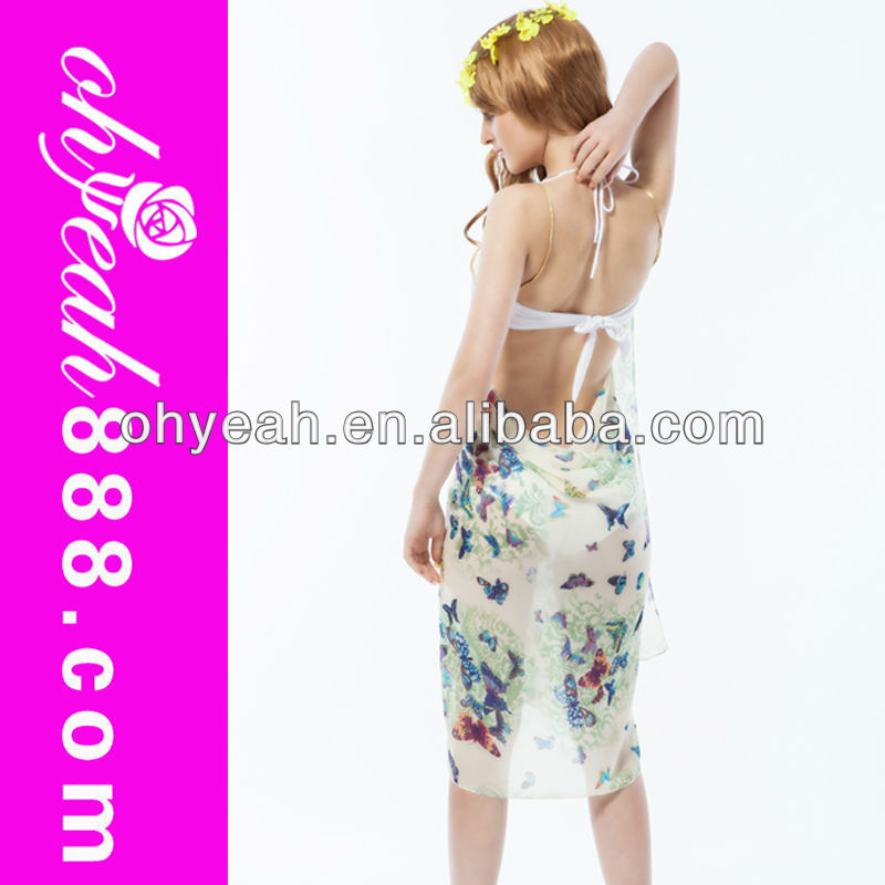 Back Open Blue Butterfly Polyester Sarong Hot Sexy Cover Ups Sarong Tenun