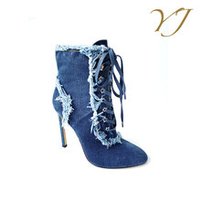 OEM orders acceptable ladies stiletto strappy blue jean boots for sale