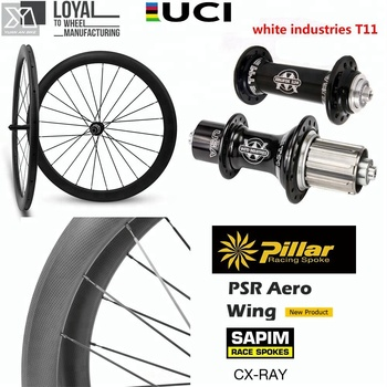 Carbon bicycle wheels cycling 700c Chinese carbon clincher wheelset with white industries T11 hub