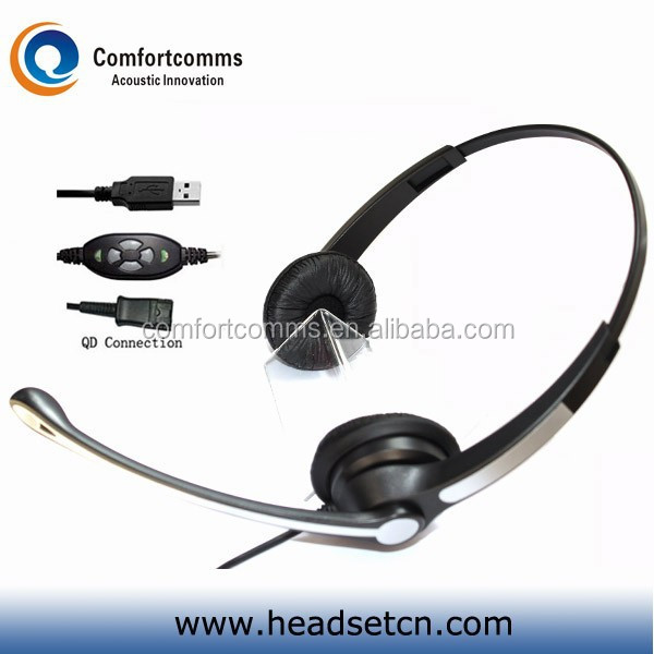 Bilateral wearing skype headset usb with mic headphones