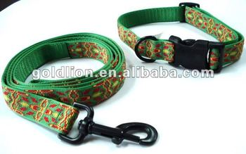 Dog leashes & collars adjustable pets lead webbing strap