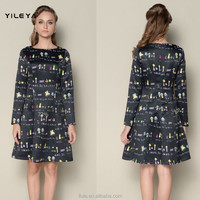 elegant all over printed cute long sleeve ladies casual long sleeve dresses