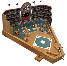 Portable Tabletop Board Game Wooden Baseball Pinball Game