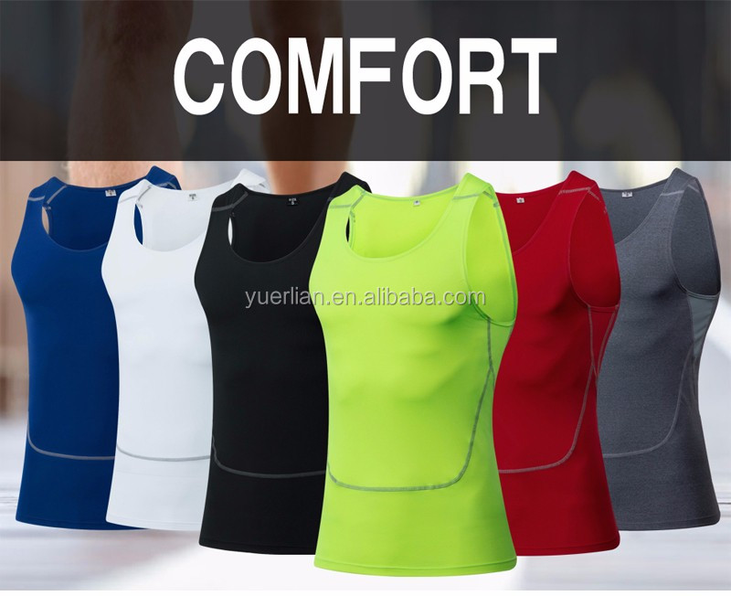YEL 100% polyester dry fit shirts fashion classical compression shirt for sports fitness clothing vest 1006
